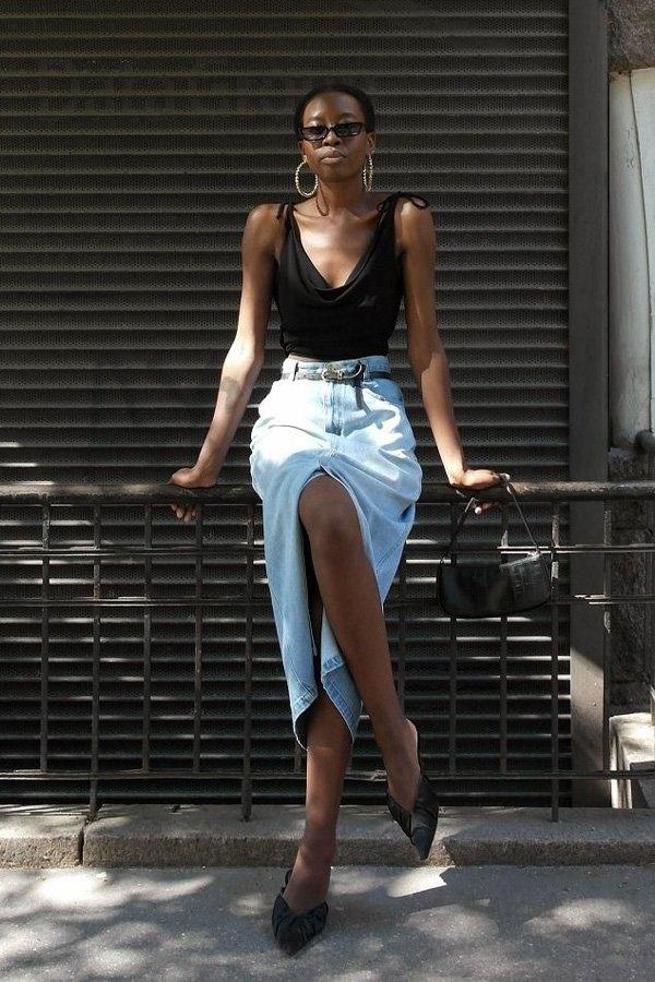Sylvie Mus - saia midi - midi - verão - street style
