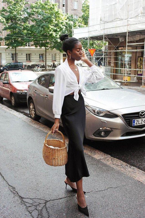 Sylvie Mus - saia midi - midi - meia-estação - street style