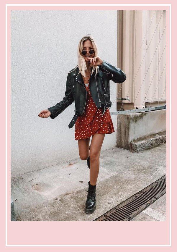 modelo - vestido com jaqueta - autumn - meia estação - rua