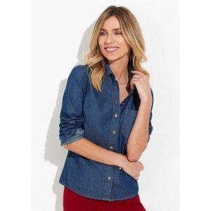 Camisa Jeans Feminina Em Lavação Tradicional Com Bolso