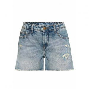 Shorts Jeans Feminino Destroyed Com Barra Desfiada