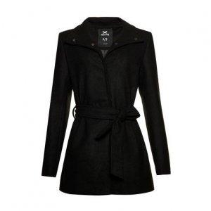 Casaco Tipo Trench Coat Feminino Alongado Em Tecido De Lã Com Faixa