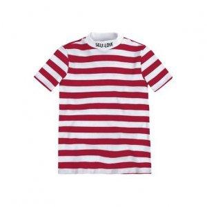 T-Shirt Em Malha Canelada Listrada Com Bordado Na Gola