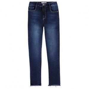 Calça Jeans Em Algodão Com Cintura Média Alta