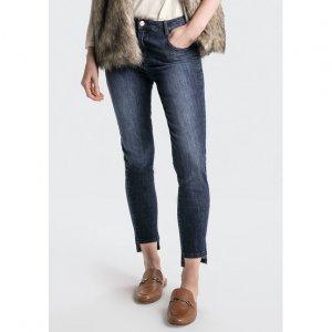 Calça Skinny Em Jeans Com Cintura Média Alta