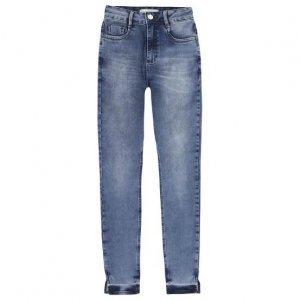 Calça Jeans Skinny Em Algodão Com Cintura Média Alta