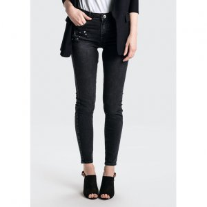 Calça Jeans Em Algodão Com Cintura Média Alta Com Aplicações