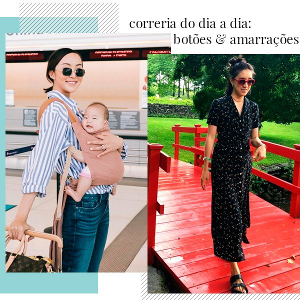 Chriselle Lim, Eva Chen - camisa-vestido - amamentação - verão - street-style