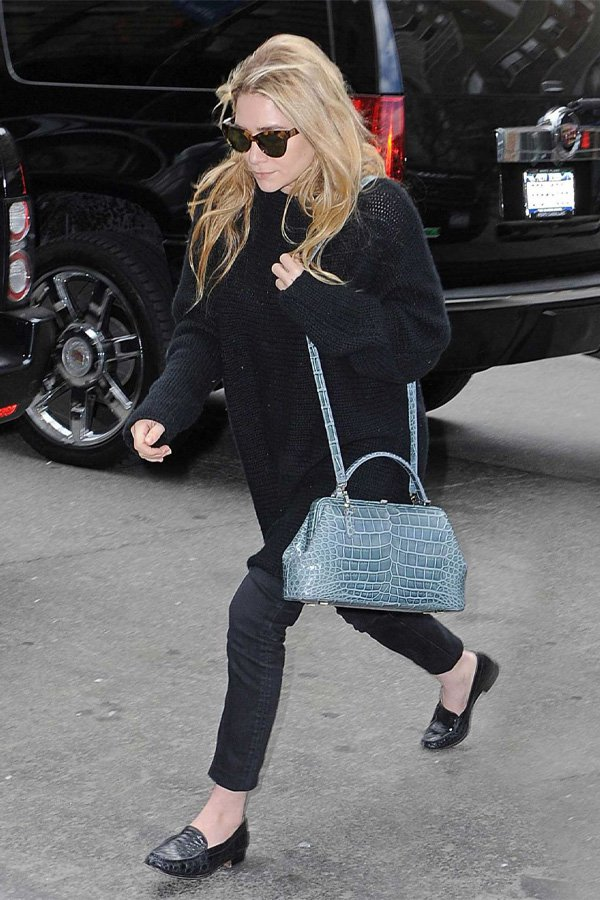 Ashley Olsen - bag - croco - winter - street style