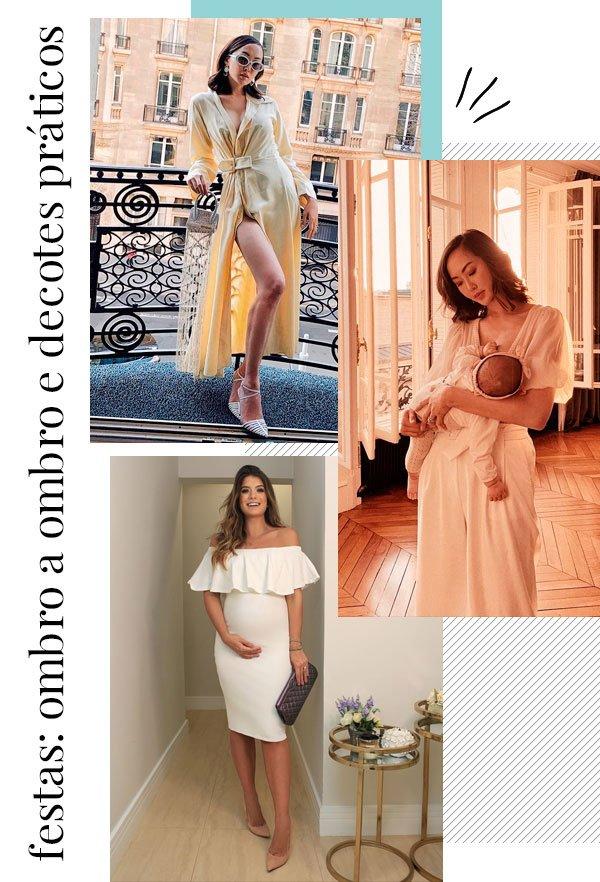 Chriselle Lim, Rochelle Johnson - vestido-festa - amamentação - outono - street-style