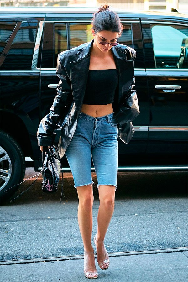 Kendall Jenner - bermuda-jeans - jeans - outono - street-style