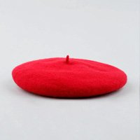 boina feminina em lã vermelha