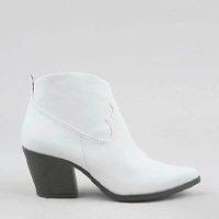 bota feminina country com pespontos e recorte branca