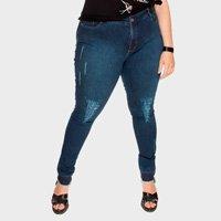 calça skinny desfiada plus size