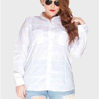 camisa branca listras plus size