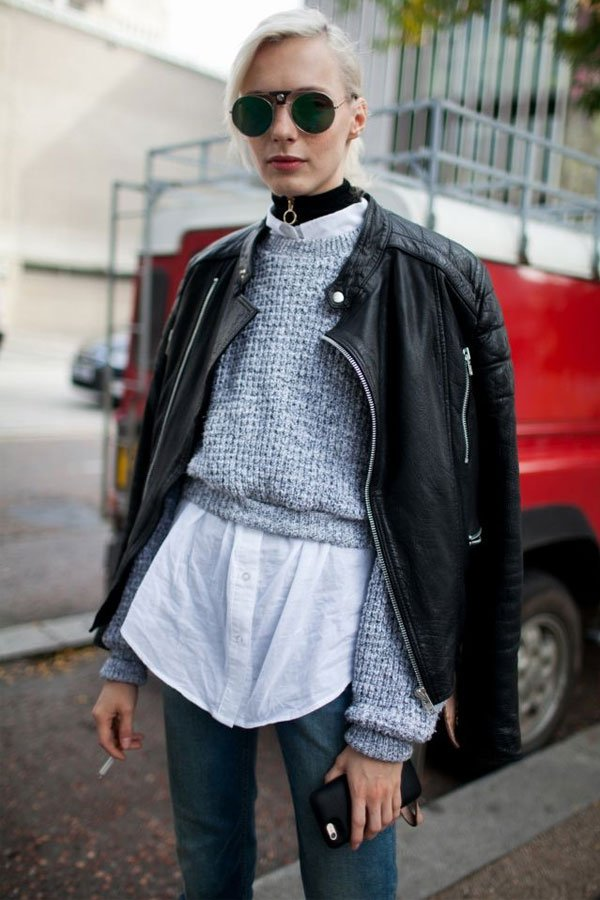 reprodução pinterest - camisa com suéter - camisa - meia-estação - street style