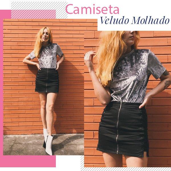 Ali Santos - camiseta de veludo e saia - veludo - inverno - street style