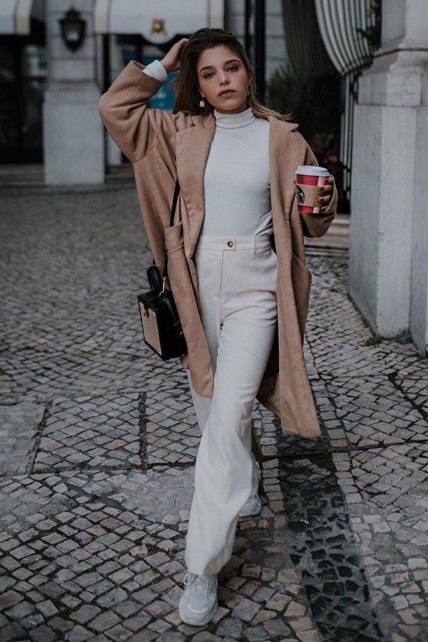 Catarina Pereira - casaco - bege - meia-estação - street style