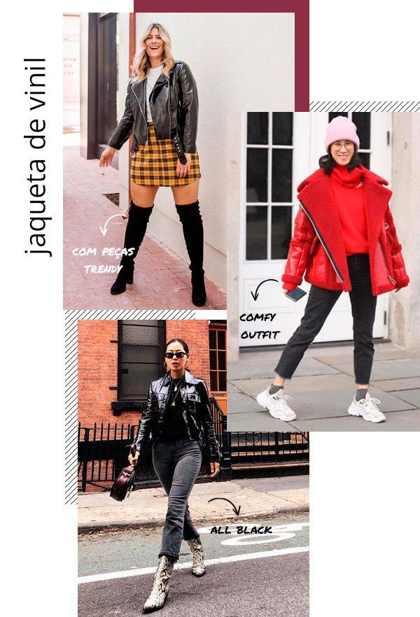 Raeann Langas, Eva Chen, Aimee Song - jaqueta-vinil - vinil - inverno - street-style