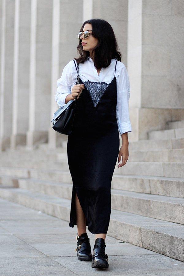 helena martins - camisa e vestido - slipdress - outono/INVERNO - street style