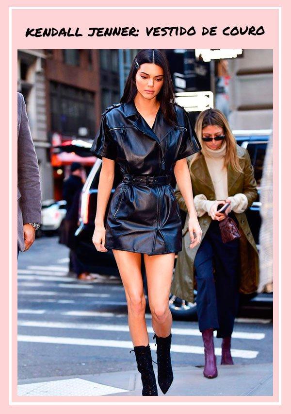 Kendall Jenner - vestido-couro - couro - outono - street-style