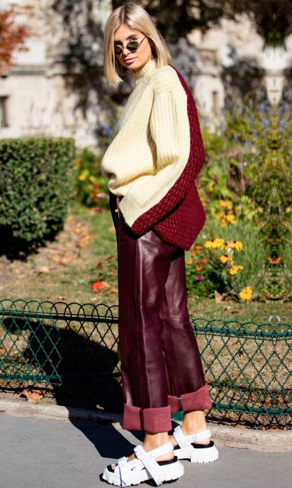 look - calca - couro - vermelho - trend