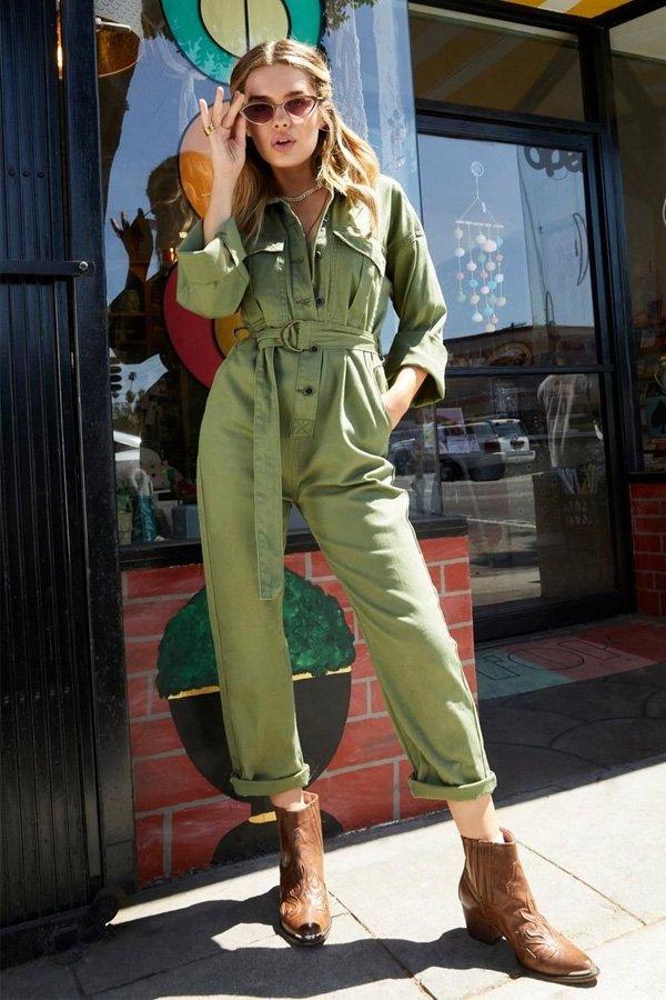 reprodução pinterest - macacão e bota western - macacão - outono - street style