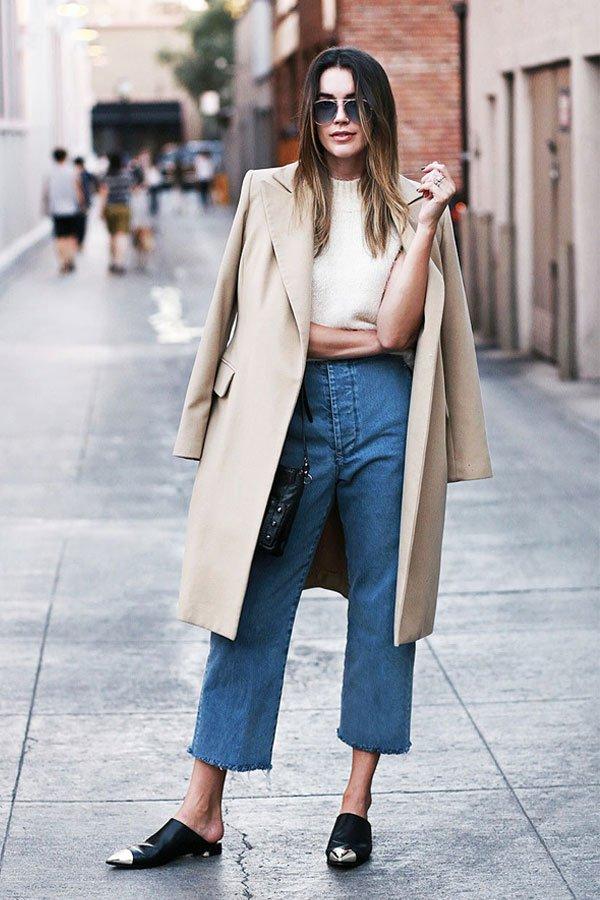 reprodução pinterest - calça jeans - pantacourt jeans - inverno - street style