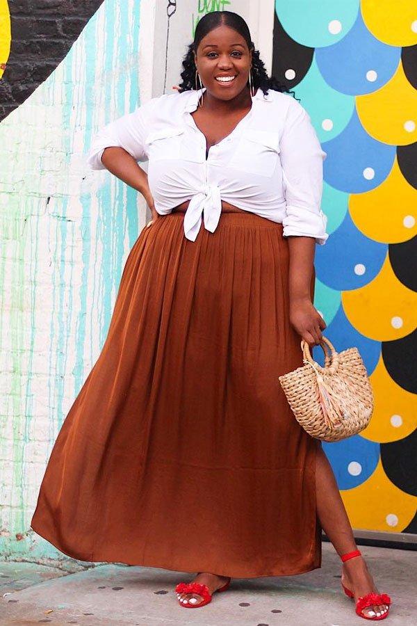 Peggy - camisa com nó e saia longa - camisa - meia-estação - street style