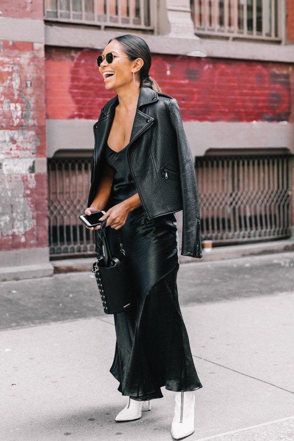 reprodução pinterest - vestido - slipdress - outono/INVERNO - street style