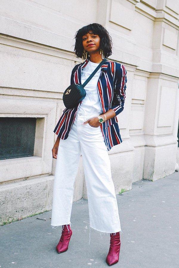 Stephanie C. - calça pantacourt branca e blazer colorido - botas no office - inverno - street style