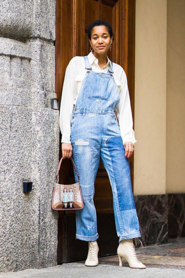 Tamu Mcpherson - camisa e macacão jeans - camisa - meia-estação - street style