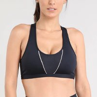 top feminino esportivo ace com recorte decote nadador preto
