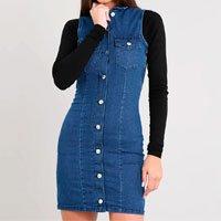 vestido jeans feminino curto com botões sem manga azul escuro