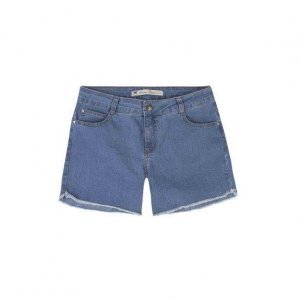 Shorts Jeans Feminino Com Cintura Intermediária E Barra Desfiada