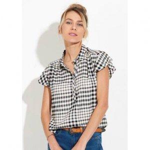 Camisa Feminina Em Tecido Fio Tinto De Viscose