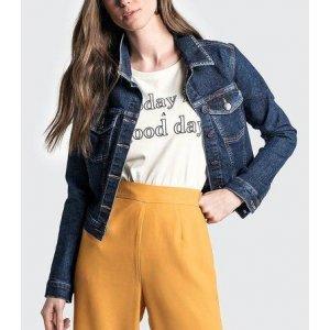 Jaqueta Jeans Em Tecido De Algodão