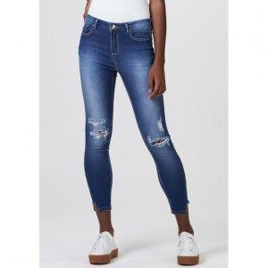 Calça Jeans Feminina Cigarrete Cintura Média
