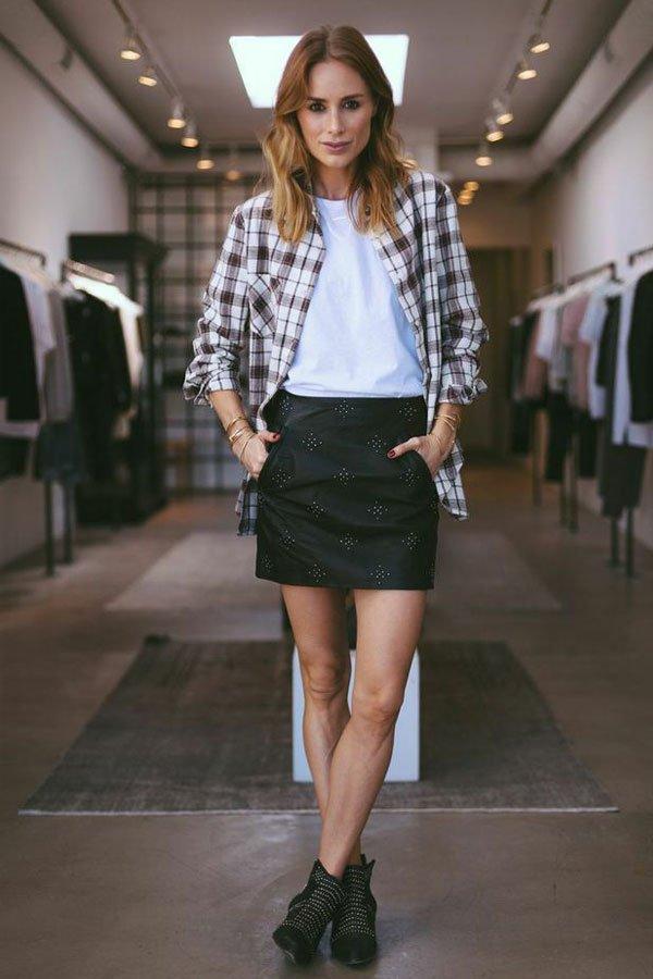 Anine Bing - saia de couro e camisa xadrez - festa junina - inverno - street style