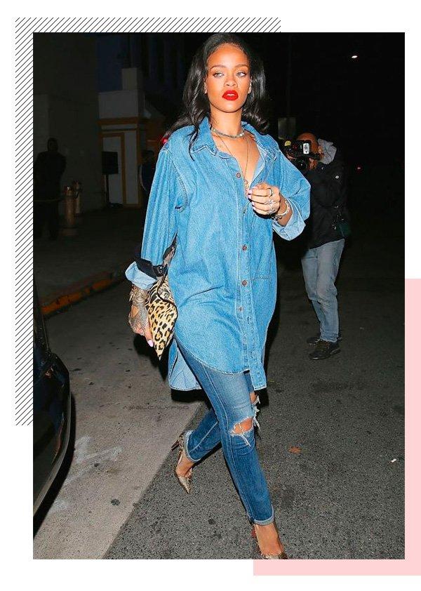 Rihanna - all-jeans - batom-vermelho - inverno - street-style