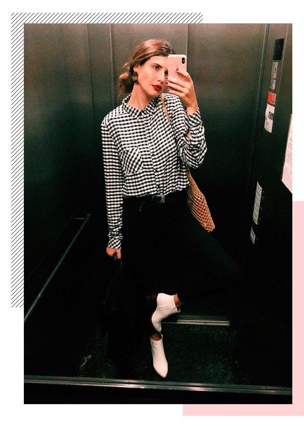 Manuela Bordasch  - camisa-xadrez - batom-vermelho - inverno - street-style