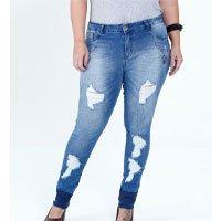 Calça Feminina Jeans Skinny Puídos Bordado Plus Size Mix Jeans