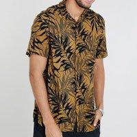 camisa masculina relaxed estampada de folhagem manga curta mostarda - gg