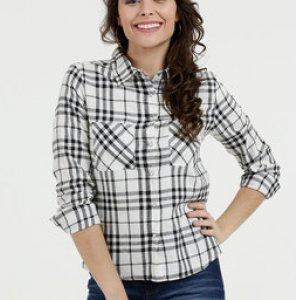 Camisa Feminina Estampa Xadrez Manga Longa Marisa