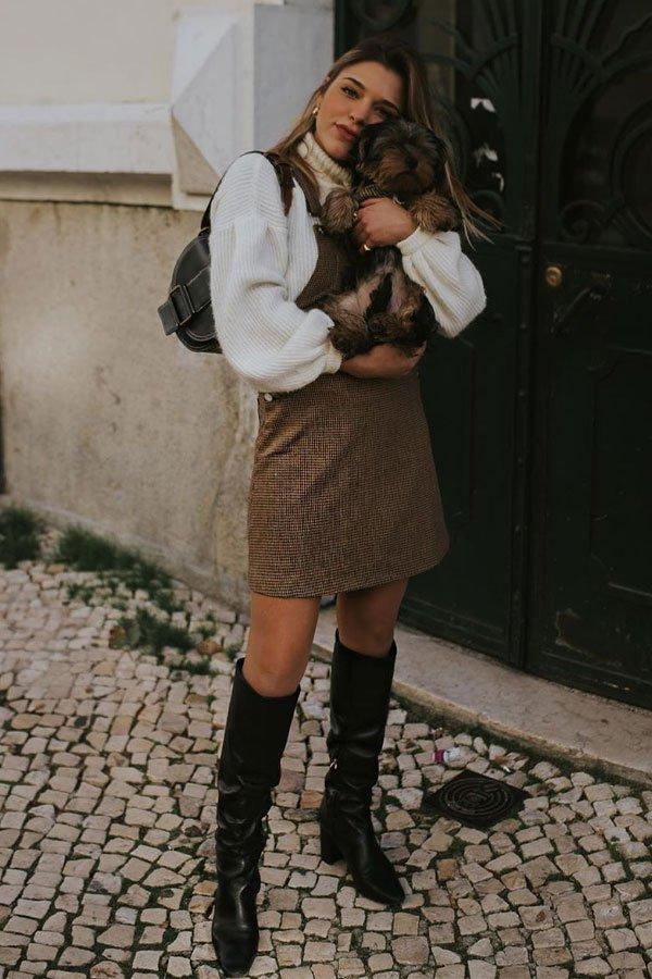 Catarina Pereira - vestido com sueter - vestidos no inverno - inverno - street style