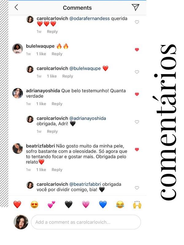 Carol Carlovich - instagram - comentários - instagram - instagram