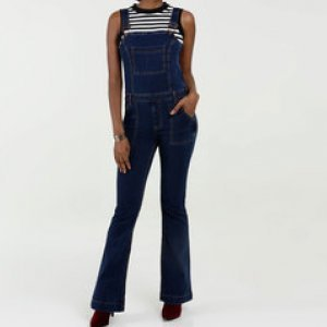 Jardineira Feminina Jeans Flare Stretch Marisa