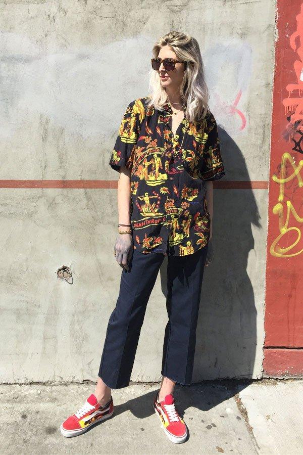 kelly connor - camisa e calça de alfaiataria - camisa de manga curta - meia-estação - street style