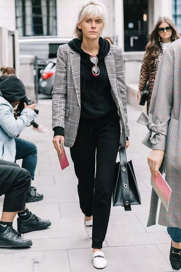 reprodução pinterest - moletom e blazer - moletom - inverno - street style