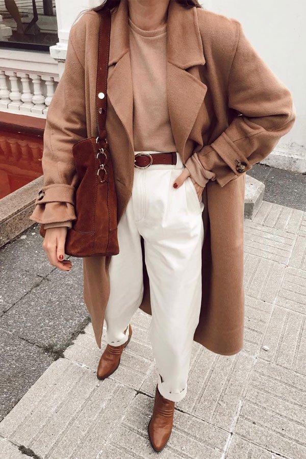 reprodução pinterest - calça de alfaiataria e casaco - camel coat - inverno - street style